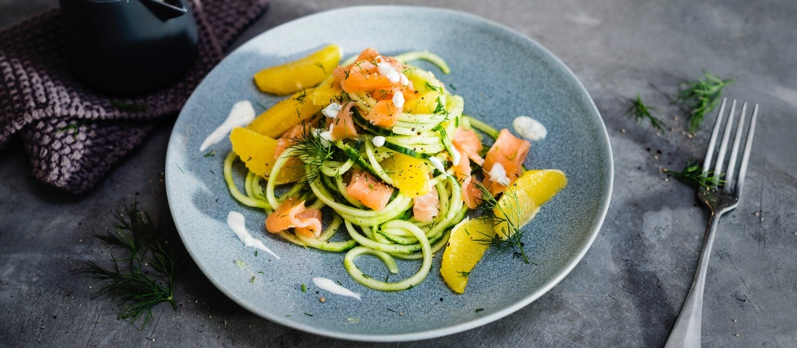 Cucumber Noodles Salad With Smoked Salmon Dill And Sour Cream